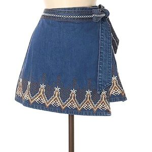 Free People Embroidered Denim Wrap Skirt